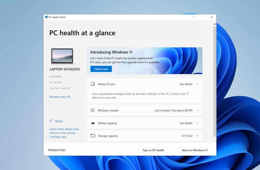PC Health Check for windows 11